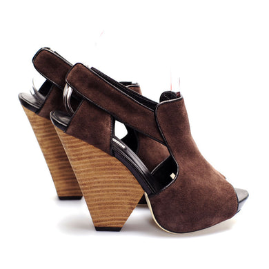 3113 SUEDE AND LEATHER WEDGE HEELS, CHESTNUT
