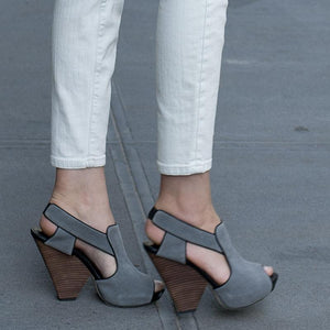 3113 SUEDE AND LEATHER WEDGE HEELS, GREY