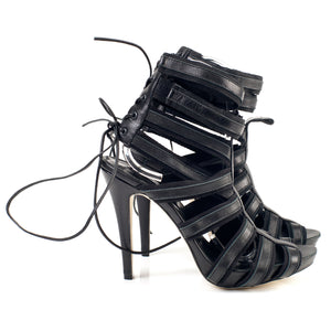 7106 LEATHER AND COTTON STRAP HEELS, BLACK