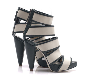 7303 BAND AND LEATHER HEELS, STONE/HUNTER GREEN