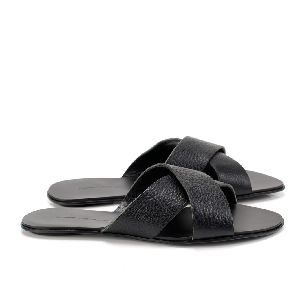 7519D LEATHER BAND FLAT SANDALS, BLACK