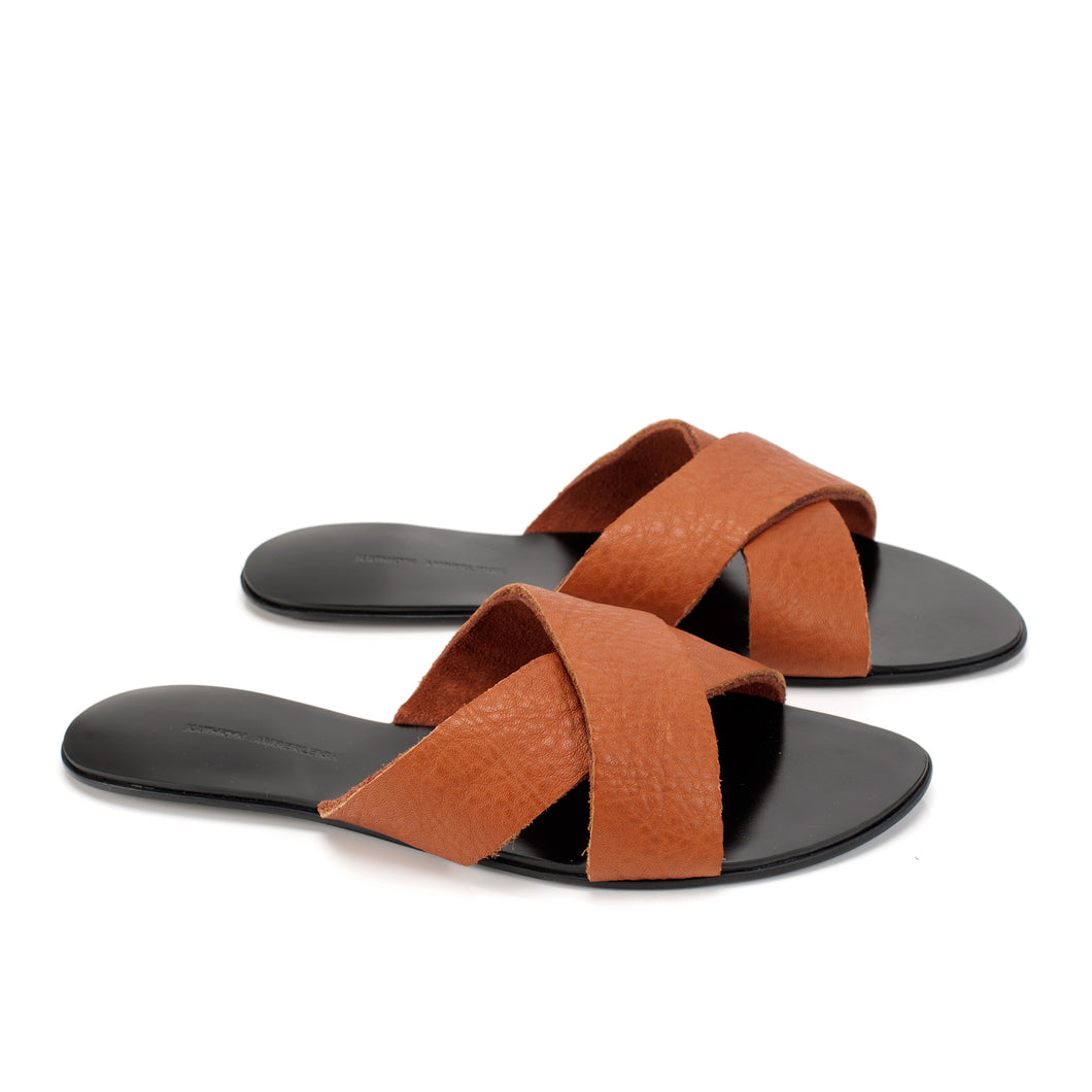 7519D LEATHER BAND FLAT SANDALS, TANGERINE