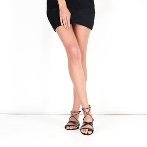 7923 LEATHER AND CHAIN FLAT SANDALS, BLACK