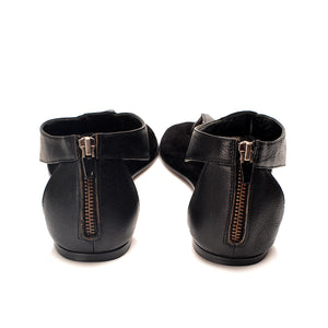 7924 LEATHER FLAT SANDALS, BLACK