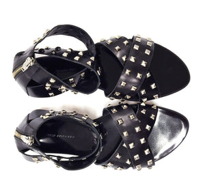 7950 STUDDED LEATHER FLAT SANDALS, BLACK/SILVER