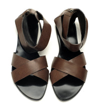 7950B COW LEATHER FLAT SANDALS, BROWN