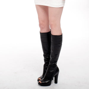 9301 OPEN-TOE LEATHER BOOTS, BLACK
