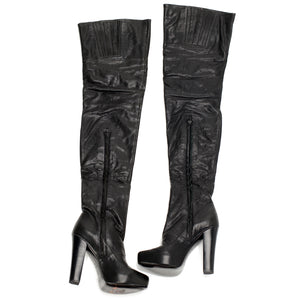9306 LEATHER OTK BOOTS, BLACK