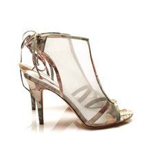 J016 NET AND LEATHER HEELS, PINK/GREEN MULTI