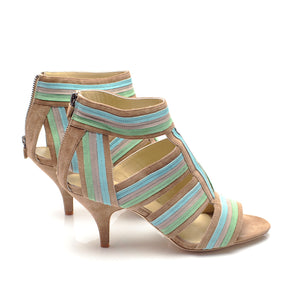 J026 SUEDE SANDALS, BEIGE MULTI