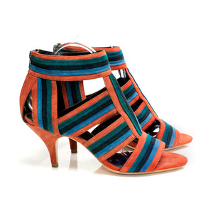 J026 SUEDE SANDALS, PERSIMMON MULTI