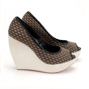 J033 LINEN WOODEN PLATFORM PUMPS, GREY MULTI