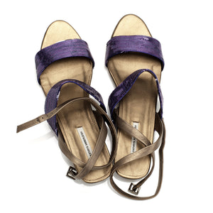 J086 SEQUIN AND LEATHER SANDALS, PURPLE/BRONZE