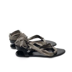 J115 STRIPED LEATHER FLAT SANDALS, OFF-WHITE/BLACK