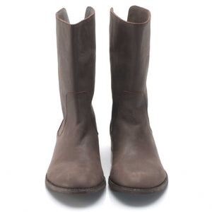 J542 LEATHER FLAT BOOTS, GREY