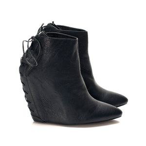 K304 LEATHER WEDGE BOOTS, CHARCOAL BLACK