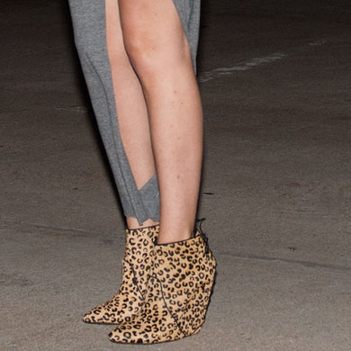 K305 CALFHAIR WEDGE BOOTS, LIGHT BROWN LEO