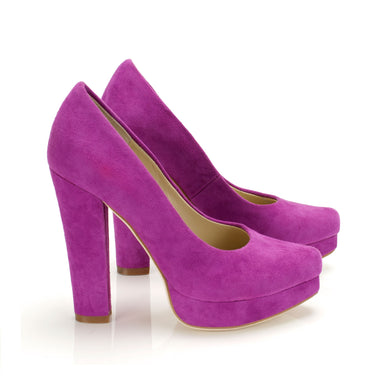 K323 PLATFORMED SUEDE PUMPS, LOTUS