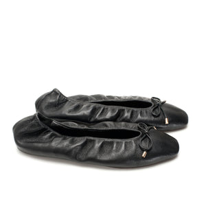 K329B HIDDEN WEDGE LEATHER FLATS, BLACK