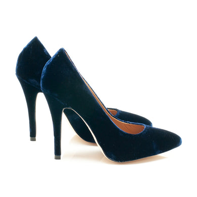 K403C SILK VELVET PUMPS, ROYAL BLUE