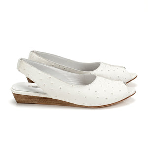 K414 OSTRICH EMBOSSED LEATHER SLINGBACKS, WHITE