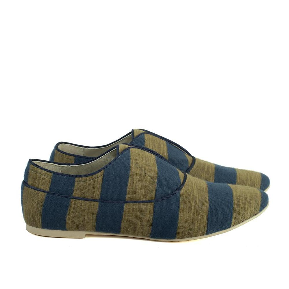 K436 COTTON SLIP-ON SNEAKERS, ARMY/BLUE STRIPE