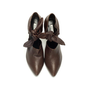 K602 LEATHER BOW PUMPS, CHOCOLATE