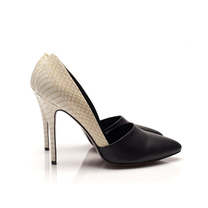 K613B CALFSKIN AND SNAKE SKIN PUMPS, MIDNIGHT/CREAM