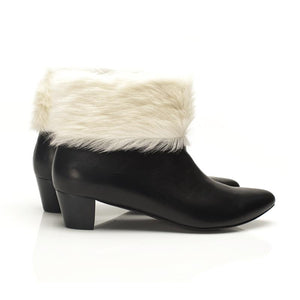 K614 CALFSKIN & FUR ANKLE BOOTS, BLACK/CREAM