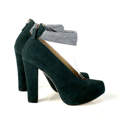 K626 SUEDE HIGH HEEL PUMPS, HUNTER GREEN/HEATHER GREY