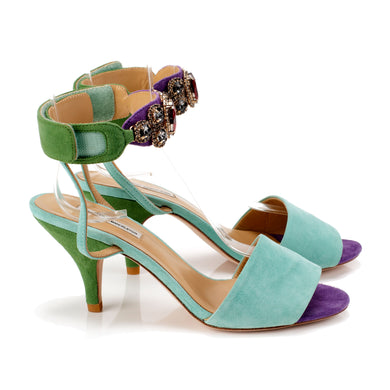 K653 JEWELED SUEDE HEELS, MINT/GREEN/PURPLE MULTI