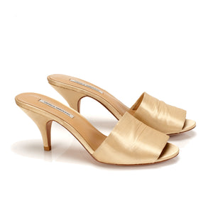 K654B SILK SATIN MULE HEELS, CUSTARD