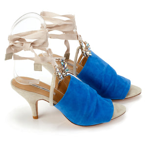K655 JEWELED SUEDE HEELS, BLUE/OAT MULTI