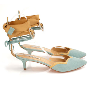K659 JEWELED SUEDE HEELS, SKY/YELLOW MULTI