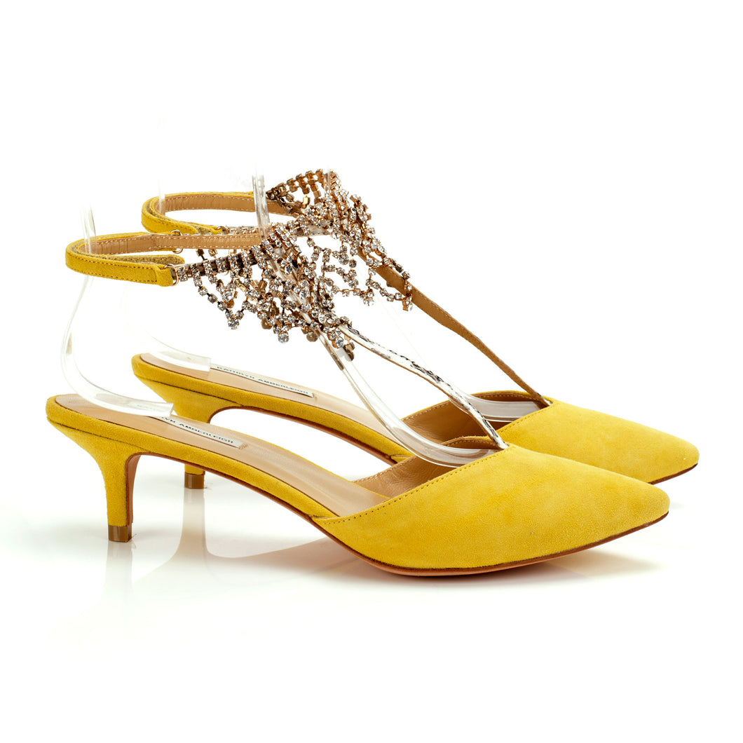 K660 JEWELED SUEDE AND SNAKESKIN HEELS, YELLOW/WHITE MULTI