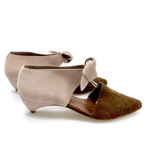 K674 SUEDE KITTEN WEDGE HEELS, BROWN/PINK