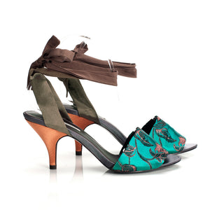 K684 SILK AND LEATHER HEELS, GREEN MULTI