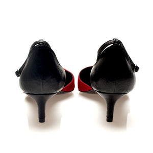 K702 SUEDE AND LEATHER KITTEN HEELS, RED/BLACK
