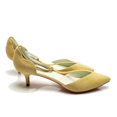 K702 SUEDE KITTEN HEELS, YELLOW