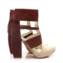 K705 CUT OUT SUEDE HEELS, ALMOND/BRICK