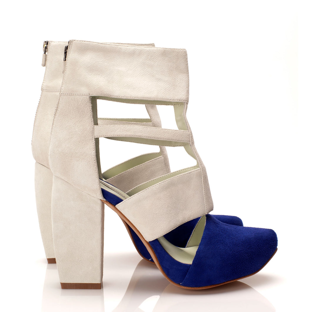 K705 CUT OUT SUEDE HEELS, MARINE/WHITE