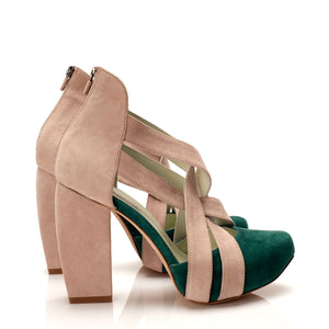K707 CUT OUT SUEDE HEELS, SAGE/POWDER
