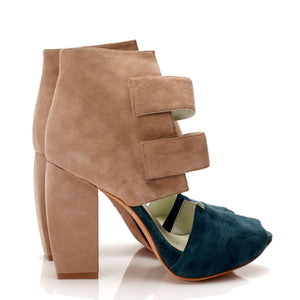 K709 OPEN TOE SUEDE HEELS, BLUE/TAUPE