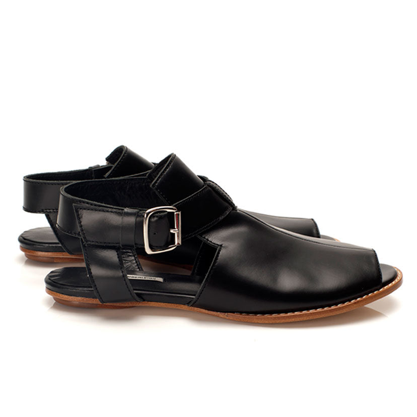 K712 LEATHER FLAT LOAFERS, BLACK