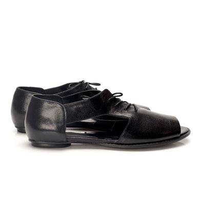 K713 LEATHER FLAT LOAFERS, BLACK GLOSS