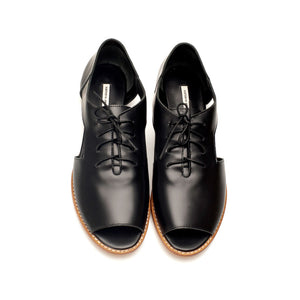 K713 LEATHER FLAT LOAFERS, BLACK