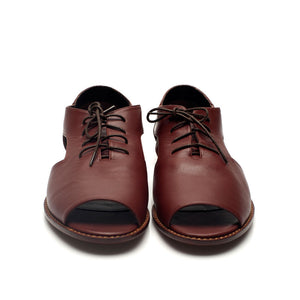 K713 LEATHER FLAT LOAFERS, REDWOOD