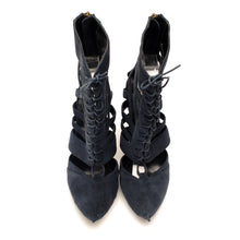 K731 SUEDE CUT OUT BOOTS, DUST NAVY