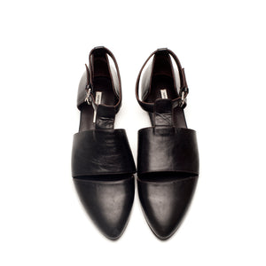 K740 LEATHER FLAT LOAFERS, DARK BROWN