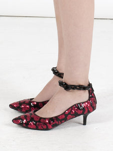 K616C LEOPARD SEQUIN PUMPS, RED/BLACK